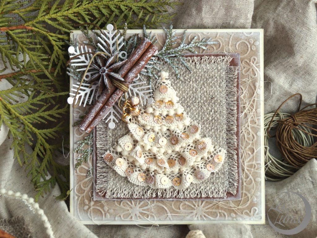 Декорируем новогоднюю открытку, любовная