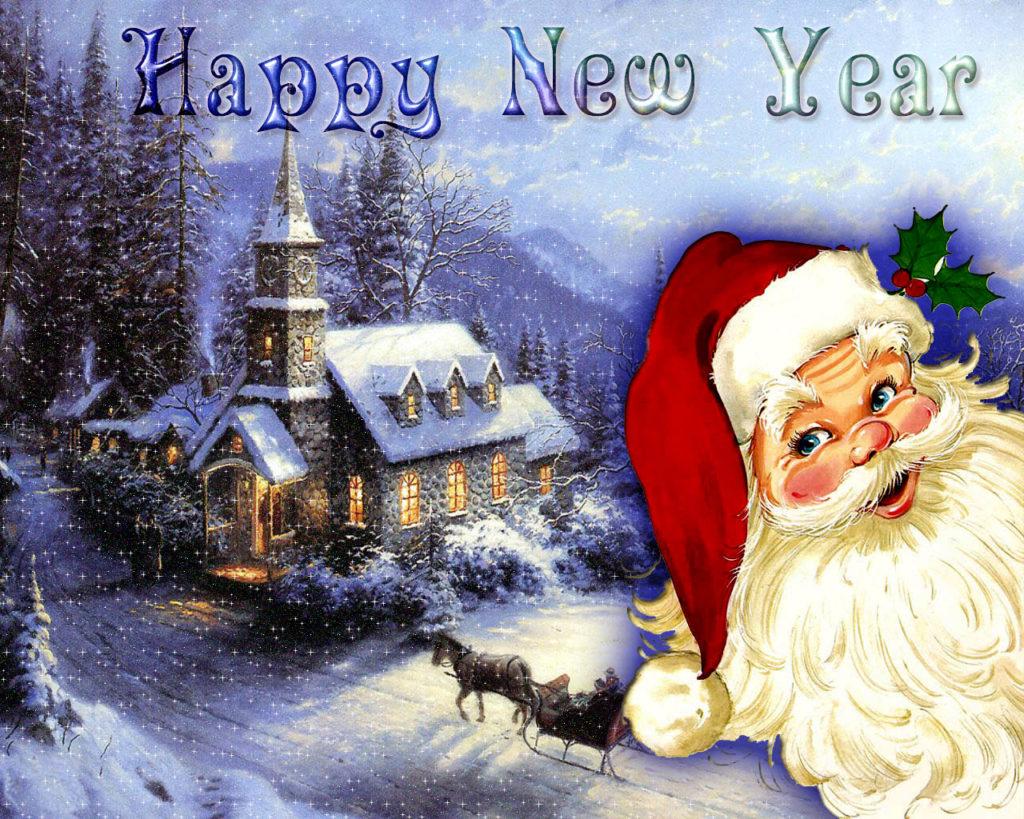 Новогодняя картинка с поздравлением на английском, поздравлением