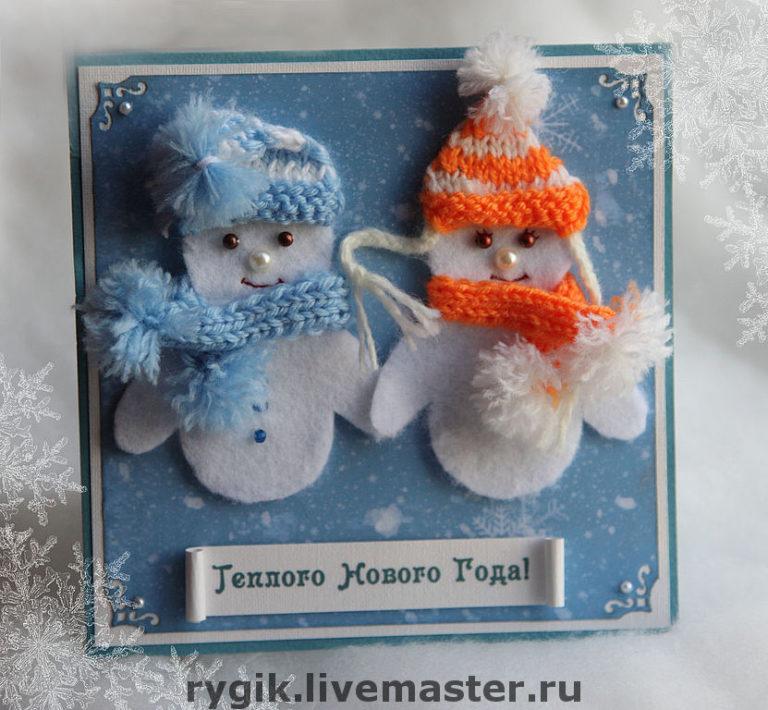 Открытки новогодние своими руками снеговик фото, картинки