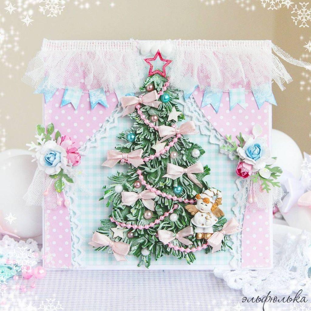 Днем ангела, красивая открытка своими руками с новым годом