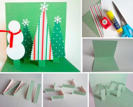 Новогодняя, как сделать объемные открытки