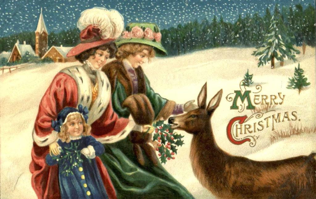Открытки новый год и рождество старые, 1957