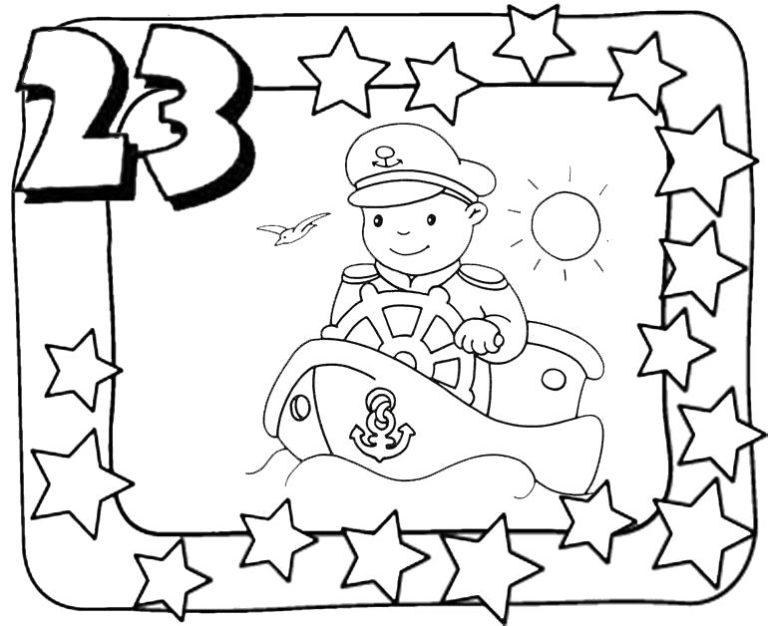 Раскраски открытки для детей к 23 февраля